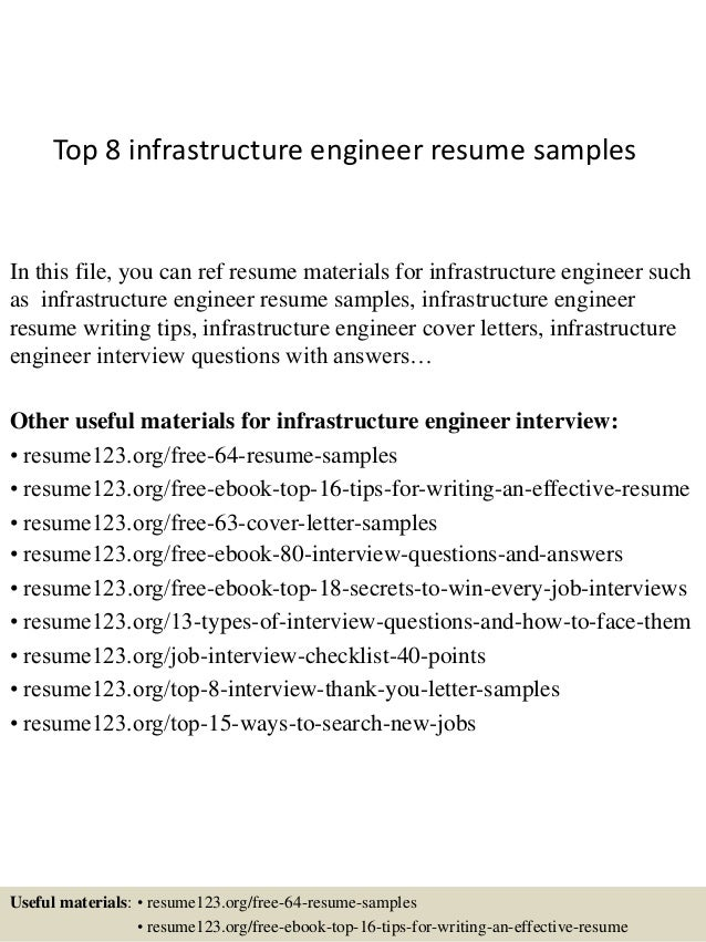 top 8 infrastructure engineer resume samples in this file you can ref resume materials for - Resume Samples Examples