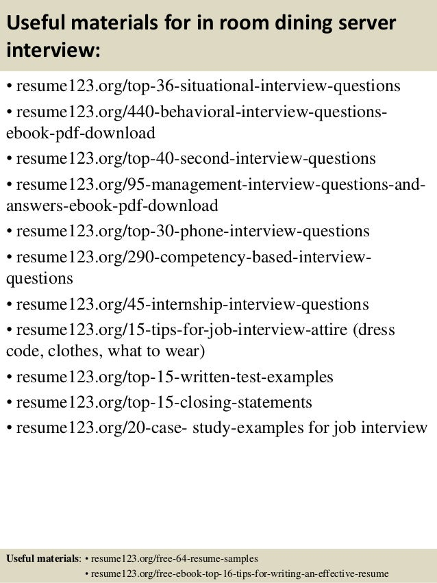 12 useful materials for in room dining server - In Room Dining Server Sample Resume
