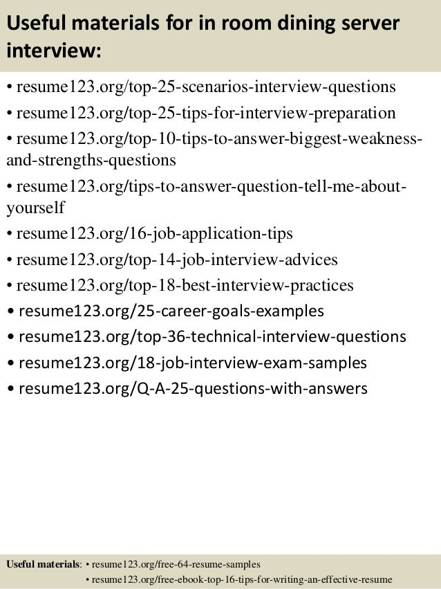 13 useful materials for in room dining server - In Room Dining Server Sample Resume