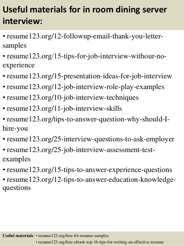 Server Resume. Top 8 In Room Dining Server Resume Samples Sample