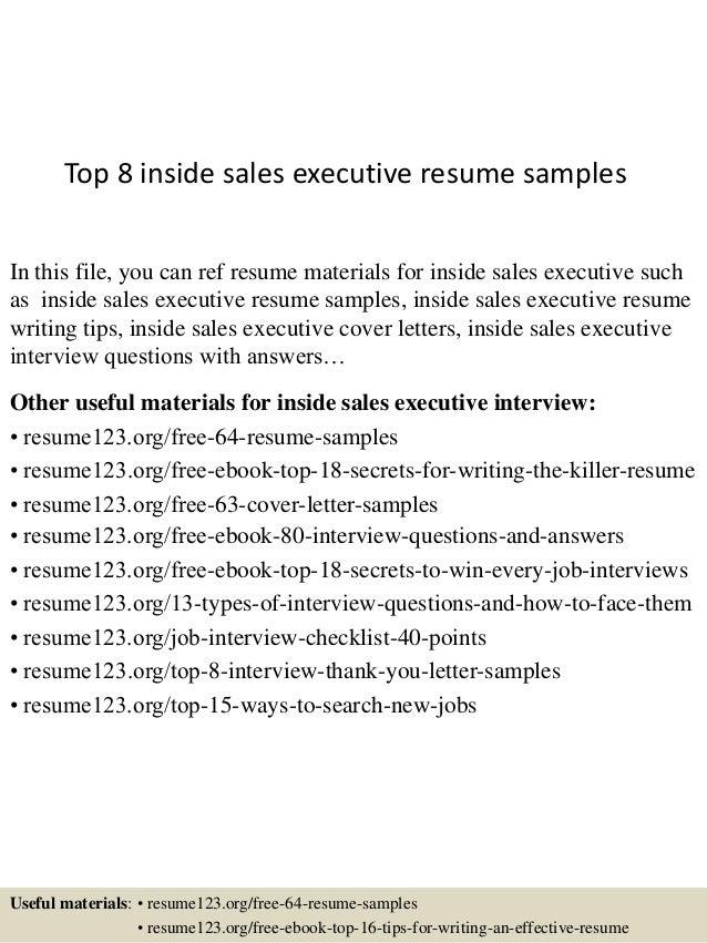 top 8 inside sales executive resume sles