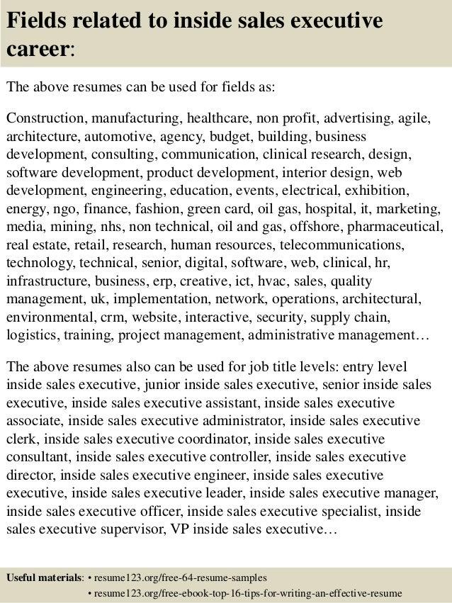 inside sales sample resumes