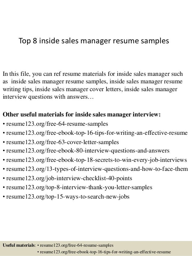 Top 8 Inside Sales Manager Resume Samples In This File, You Can Ref Resume  Materials ...  Inside Sales Resume