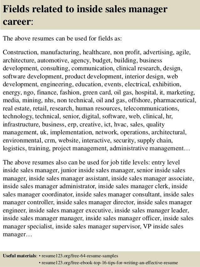 top 8 inside sales manager resume samples