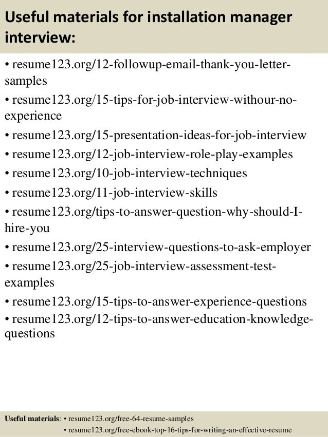 Top 8 installation manager resume samples