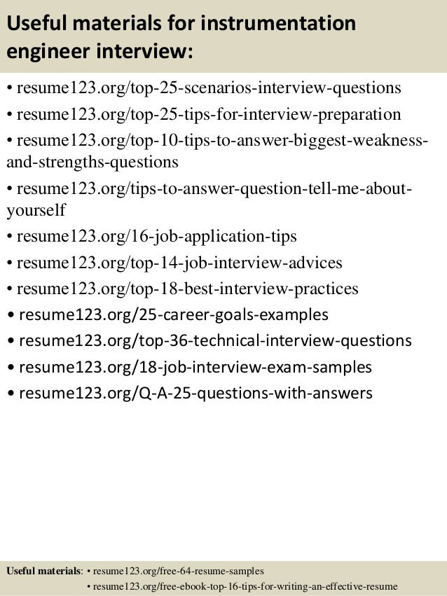 13 useful materials for instrumentation engineer - Instrumentation Engineer Sample Resume