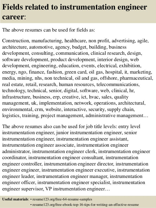 Marvelous ... 16. Fields Related To Instrumentation Engineer Career: The Above Resumes  ...