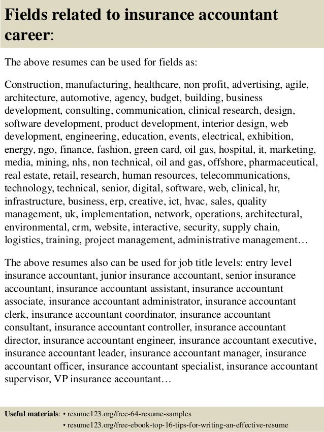 16 fields related to insurance accountant - Accounting Resume Sample