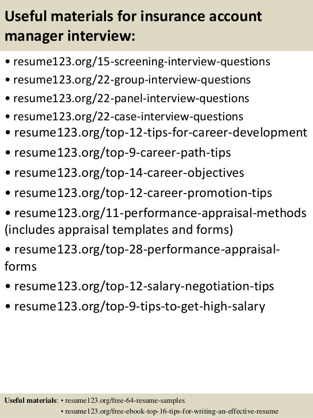 Marvelous ... 15. Useful Materials For Insurance Account Manager ... Intended For Insurance Account Manager Resume