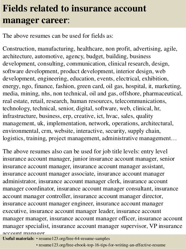 Resume Resume Sample Technical Account Manager top 8 insurance account manager resume samples 16 fields related to manager