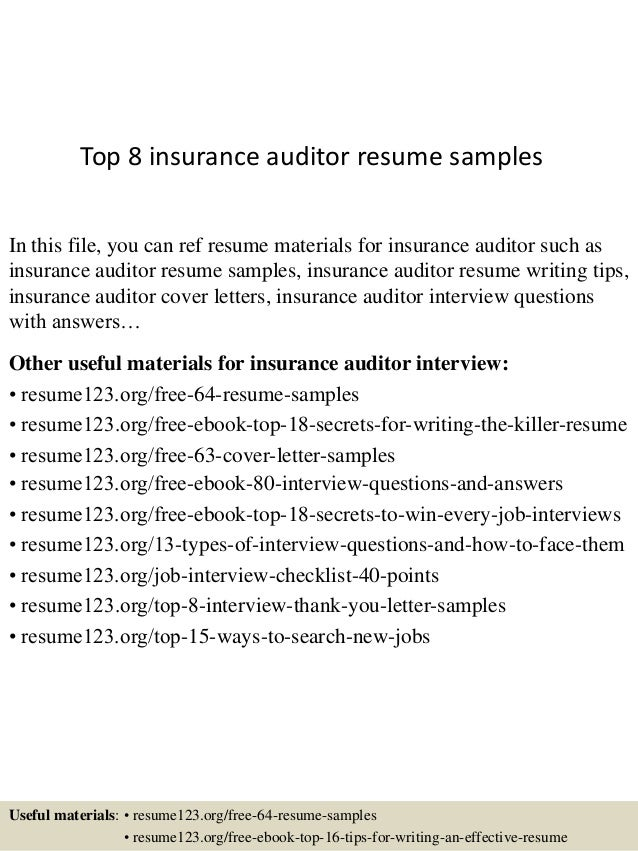 Auditor Resume Examples | Top 8 Insurance Auditor Resume Samples