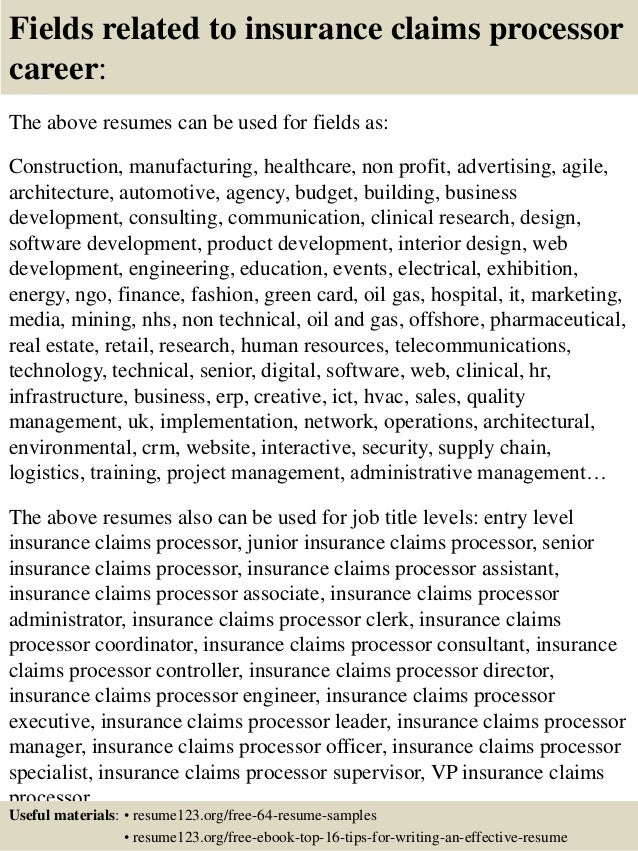 Top 8 insurance claims processor resume samples