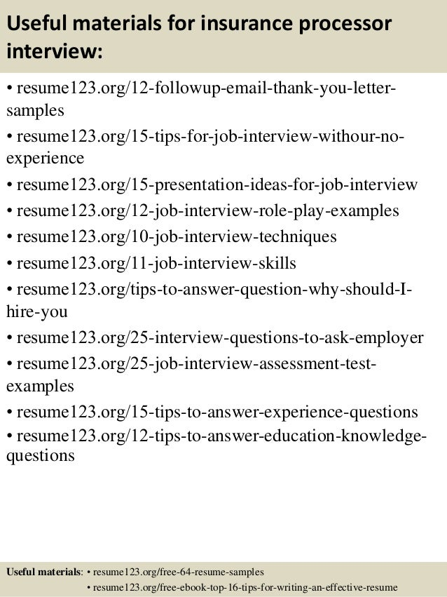 14 useful materials for insurance processor - Insurance Processor Sample Resume