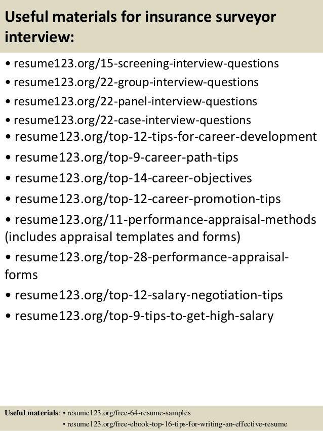 Top 8 insurance surveyor resume samples – Insurance Resume Objective