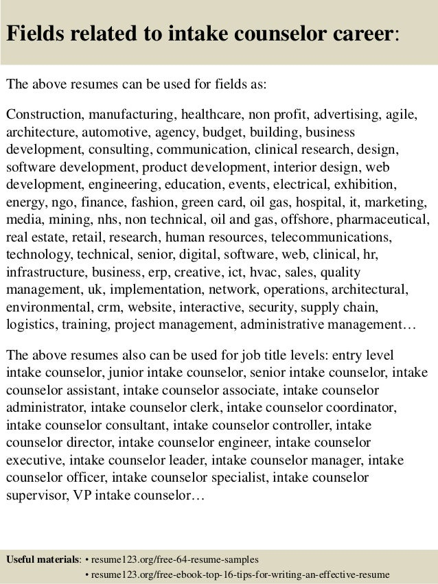 ... 16. Fields Related To Intake Counselor ...