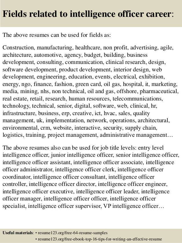 intelligence officer sample resume top 8 intelligence officer