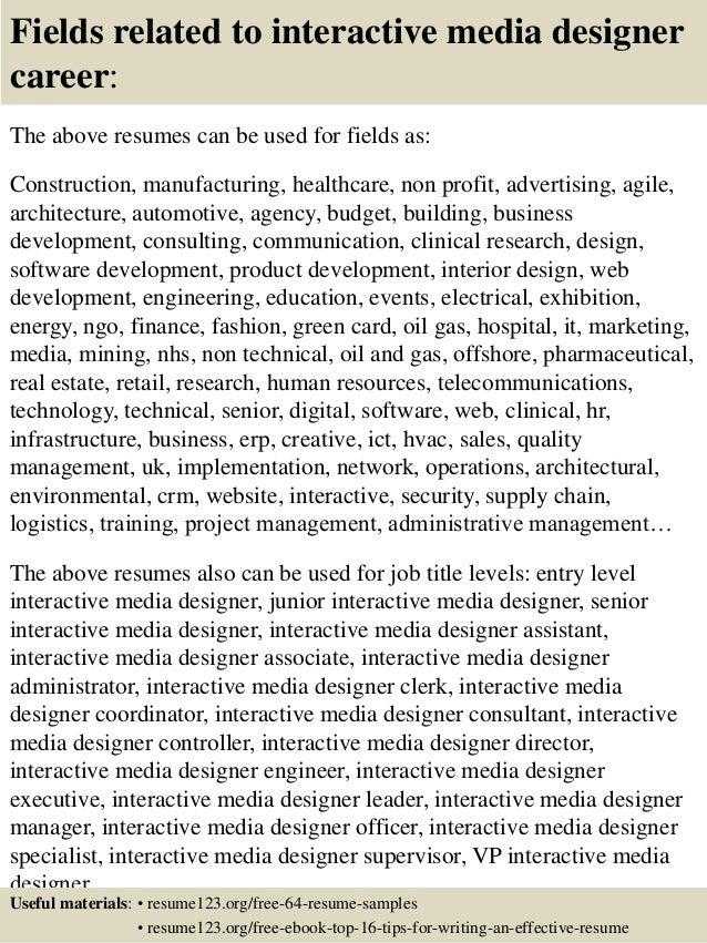 top 8 interactive media designer resume samples
