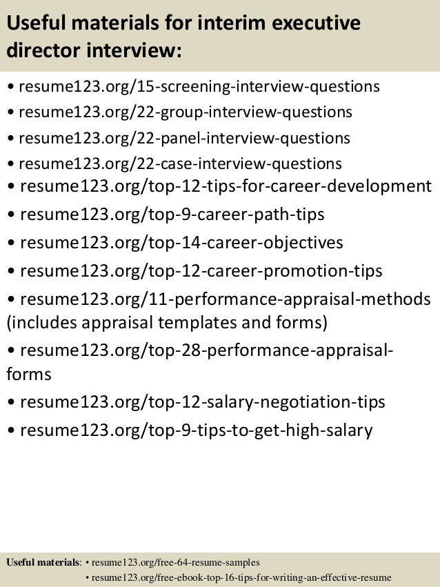 top 8 interim executive director resume samples