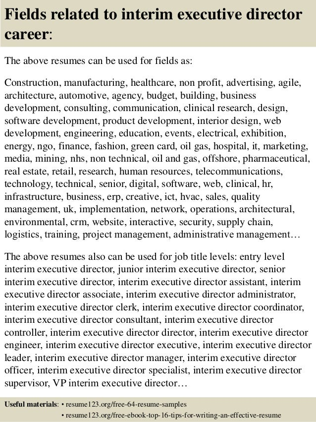 ... 16. Fields Related To Interim Executive Director ...