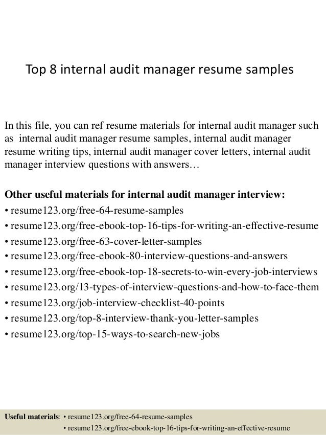 top 8 internal audit manager resume samples in this file you can ref resume materials - Claims Auditor Sample Resume