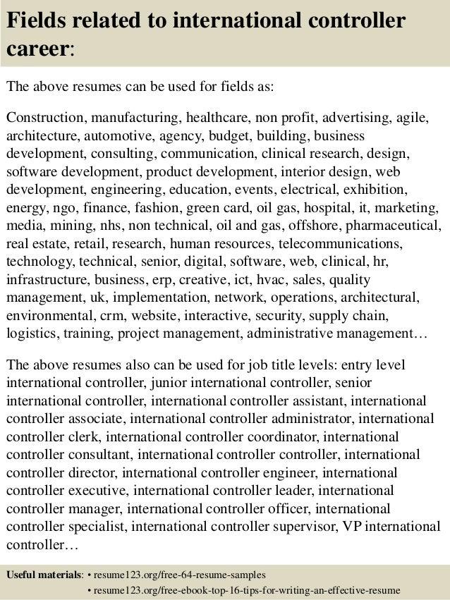 international controller resume resume writer for cfos executive