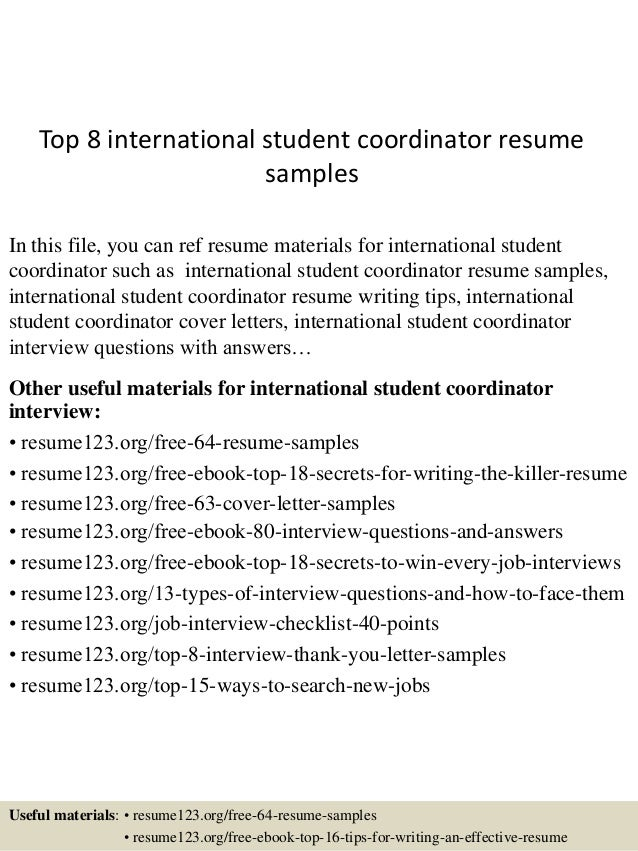 top 8 international student coordinator resume sles