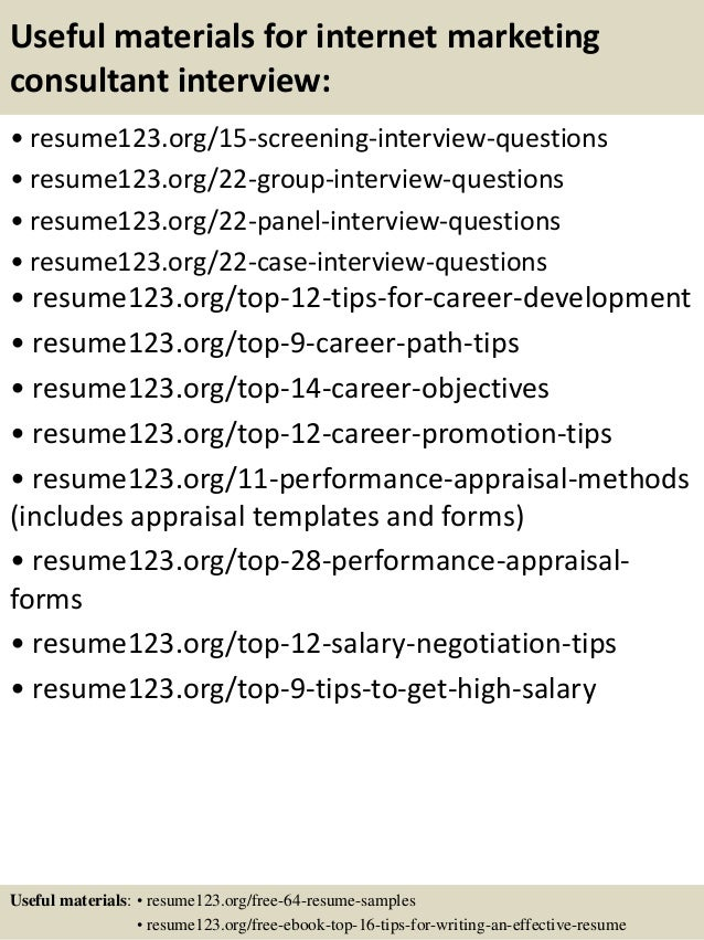 Top 8 internet marketing consultant resume samples