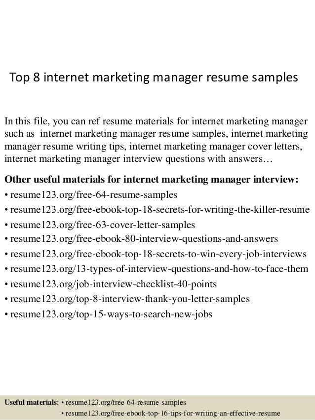 Top 8 internet marketing manager resume samples