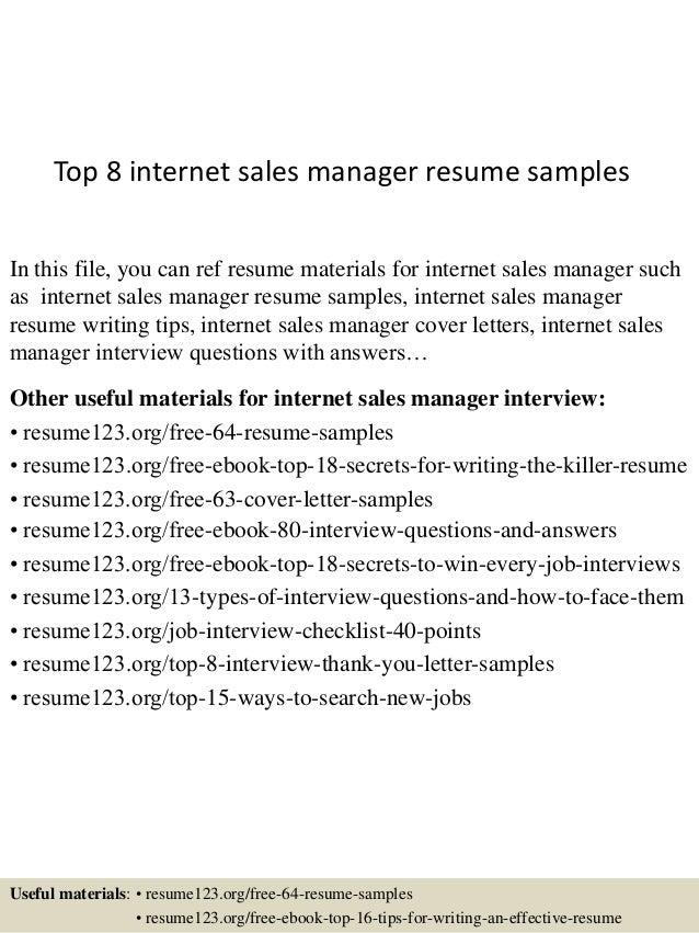 top8internetsalesmanagerresumesamples1638jpgcb 1432193429 – Sample Sales Manager Resume