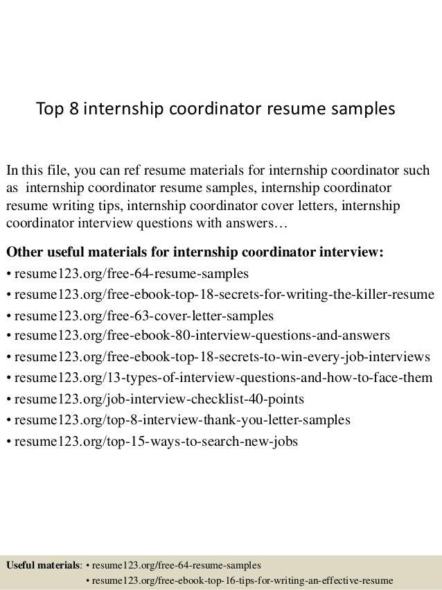 resume samples for internships