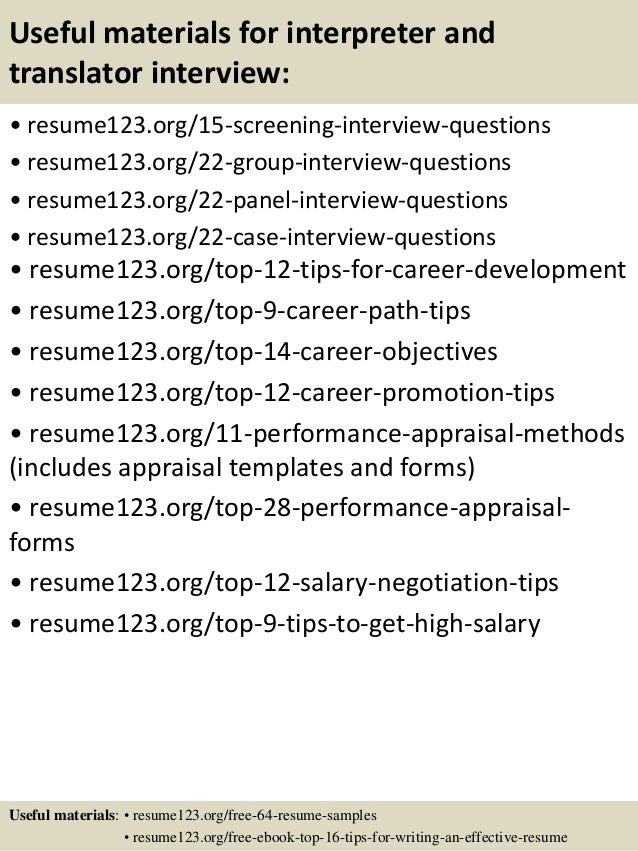 Top 8 interpreter and translator resume samples 15 useful materials for interpreter yelopaper