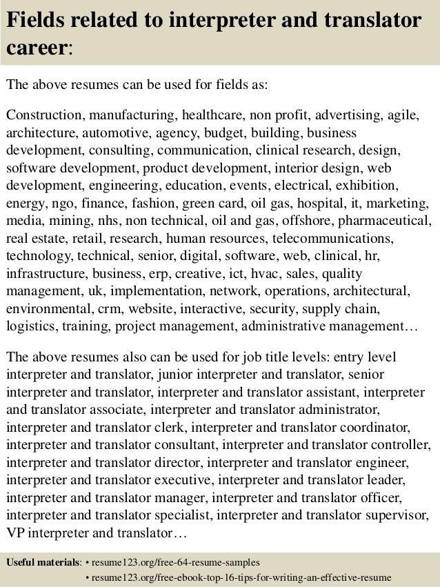 top 8 interpreter and translator resume samples medical interpreter cover letter