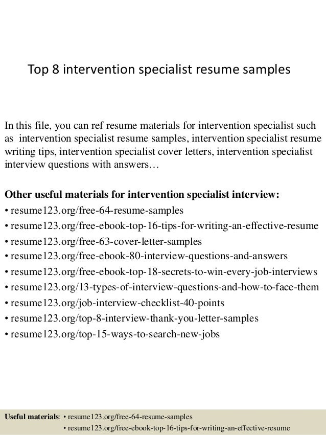 top 8 intervention specialist resume samples in this file you can ref resume materials for - Samples Resumes