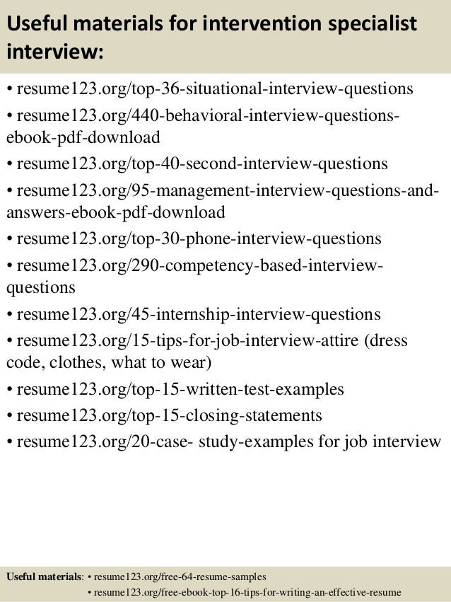 ... 12. Useful Materials For Intervention Specialist ...