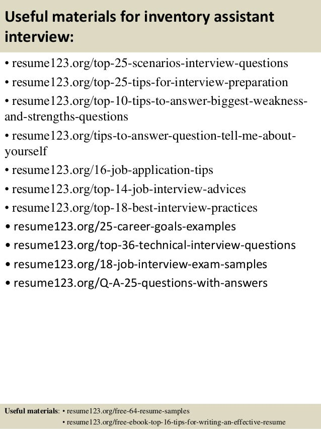 Top 8 inventory assistant resume samples – Inventory Resume Sample
