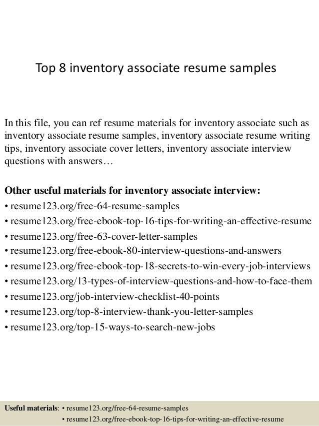 Inventory Associate | Resume CV Cover Letter