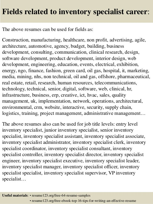 16 fields related to inventory - Inventory Resume Samples