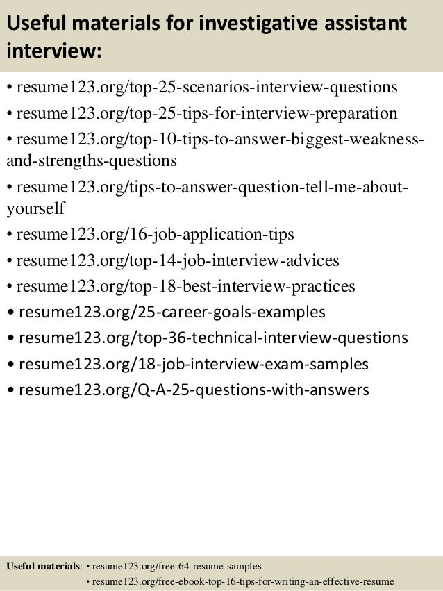 13 useful materials for investigative assistant - Investigative Assistant Sample Resume