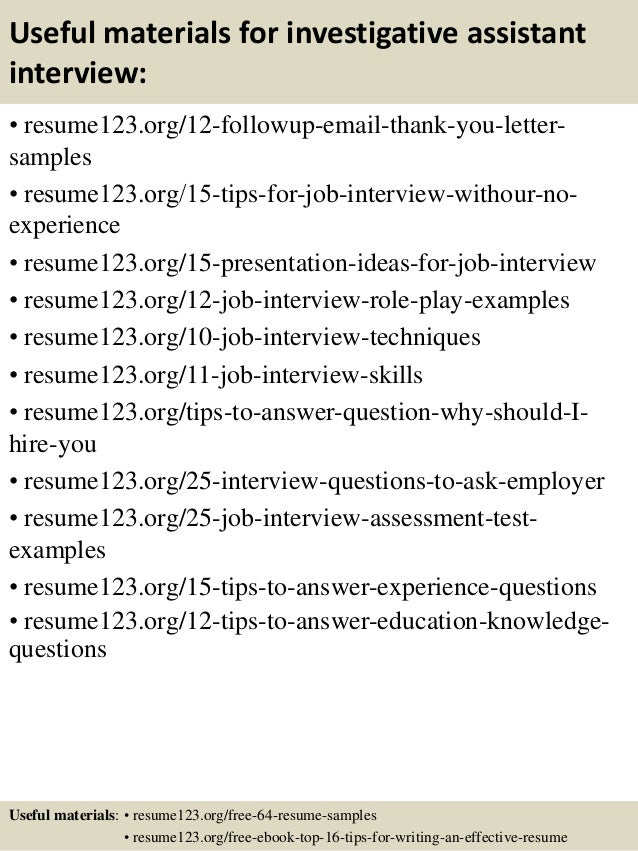 14 useful materials for investigative assistant - Investigative Assistant Sample Resume