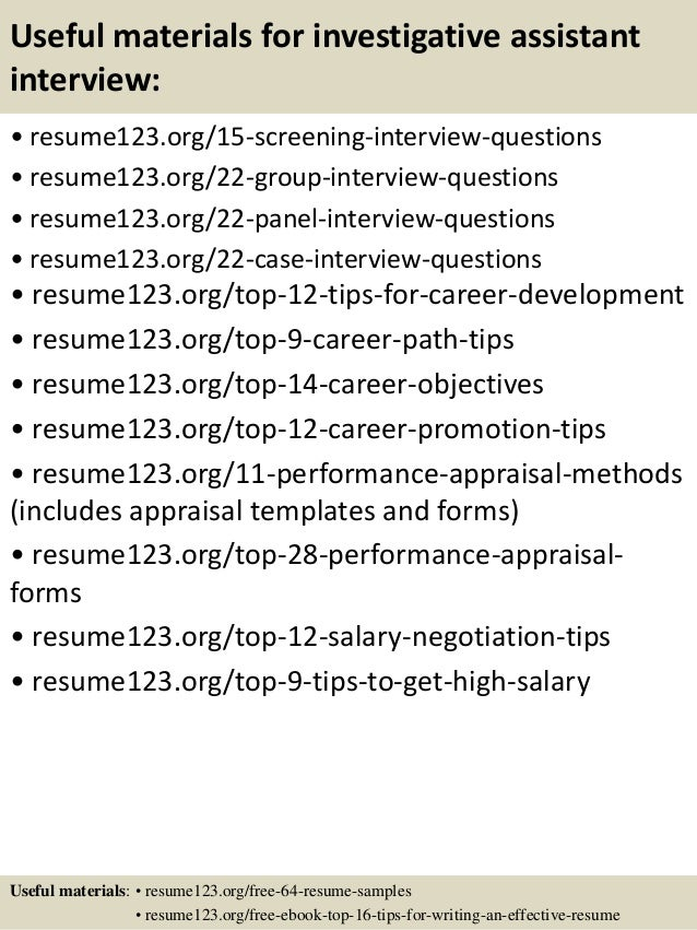 15 useful materials for investigative assistant - Investigative Assistant Sample Resume