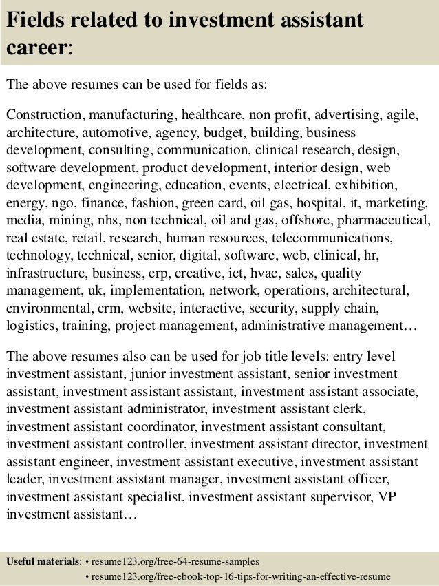 Top 8 investment assistant resume samples
