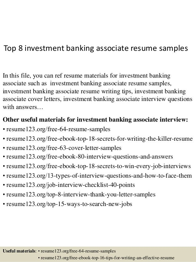 Top 8 Investment Banking Associate Resume Samples In This File, You Can Ref  Resume Materials ...