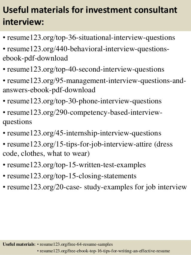 Top 8 investment consultant resume samples 12 useful materials for investment consultant yelopaper Images