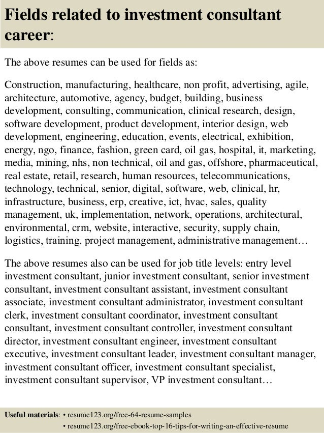 ... 16. Fields Related To Investment Consultant ...