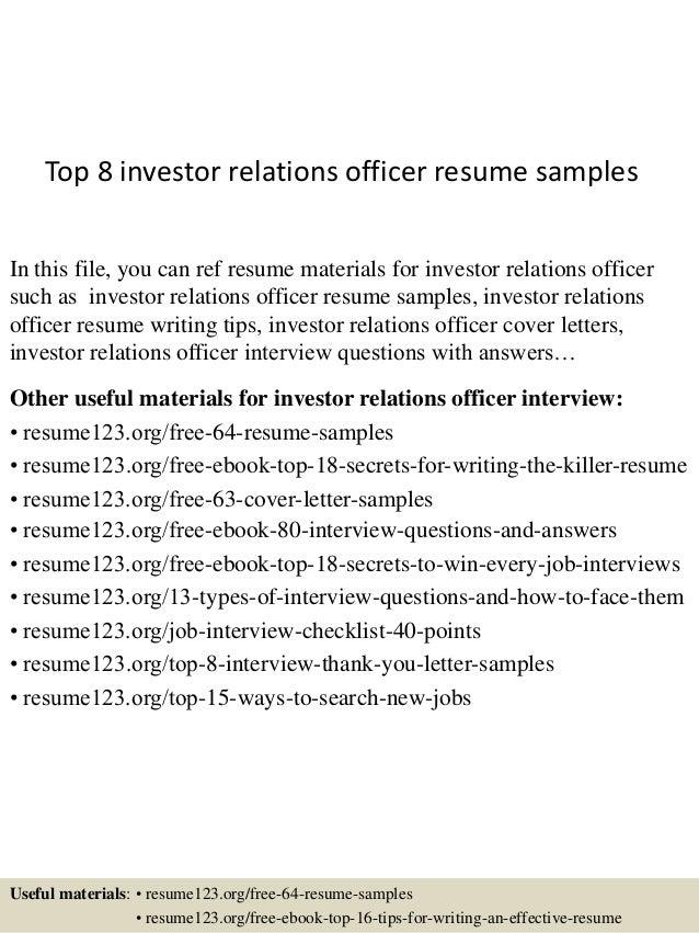 Top 8 Investor Relations Officer Resume Samples 1 638