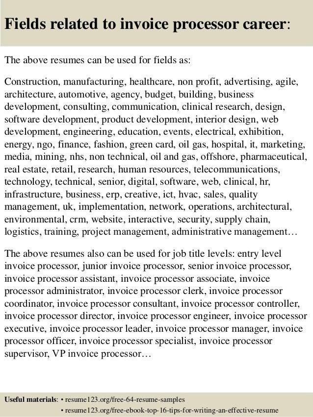 Top 8 invoice processor resume samples