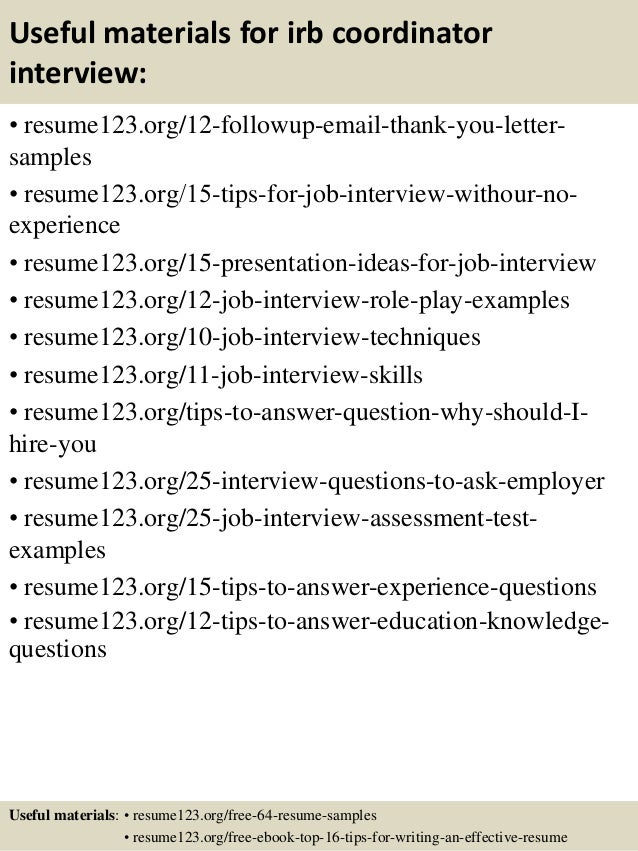 14 useful materials for irb - Irb Administrator Sample Resume