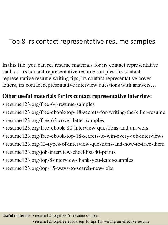 https://image.slidesharecdn.com/top8irscontactrepresentativeresumesamples-150527142653-lva1-app6892/95/top-8-irs-contact-representative-resume-samples-1-638.jpg?cb\u003d1432737087