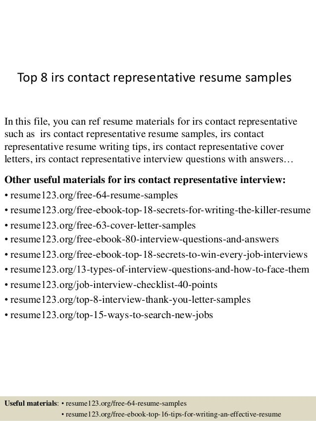 Top 8 Irs Contact Representative Resume Samples In This File, You Can Ref  Resume Materials ...  Claims Representative Resume