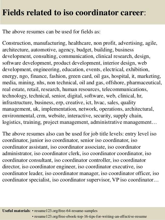 Top 8 iso coordinator resume samples